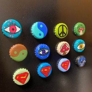 Bottle cap magnets - handpainted!✨